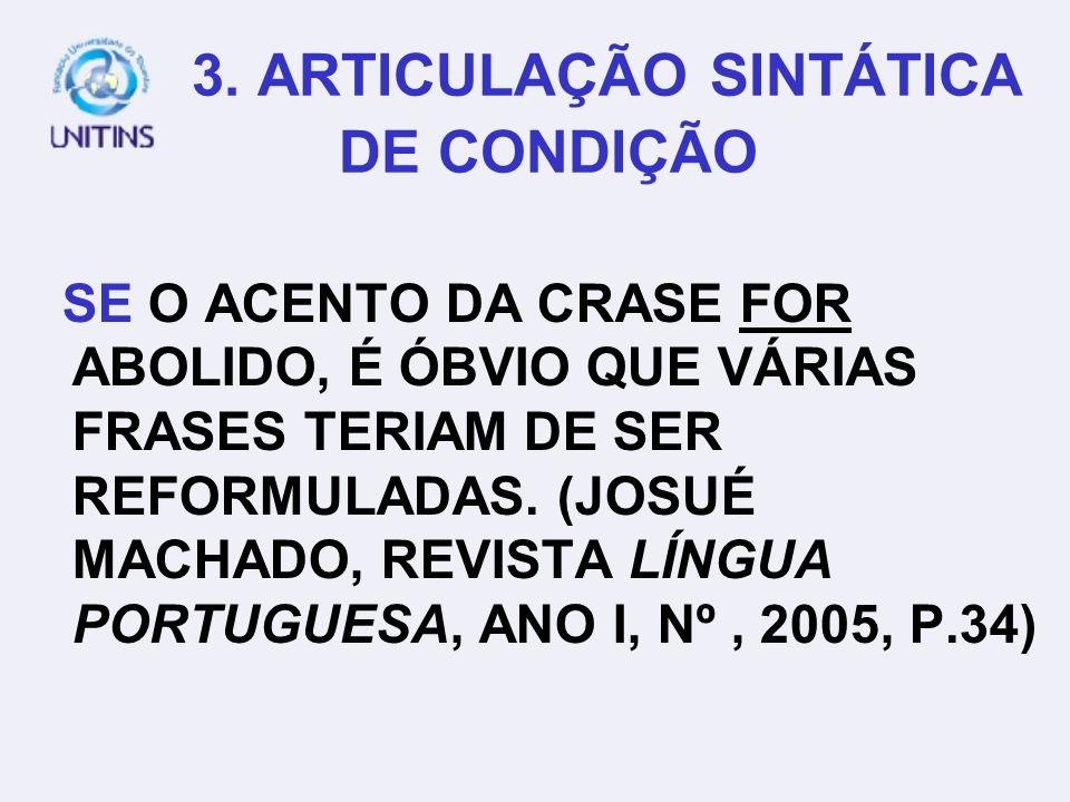 3. ARTICULAÇÃO SINTÁTICA DE CONDIÇÃO