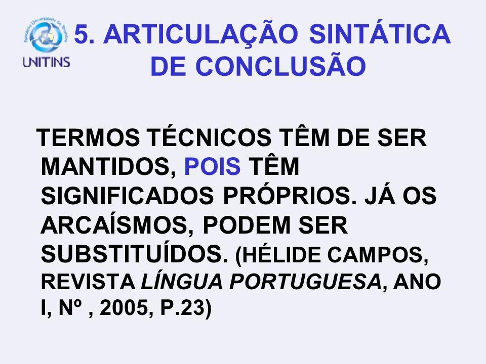5. ARTICULAÇÃO SINTÁTICA DE CONCLUSÃO