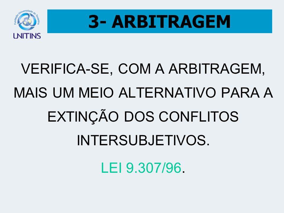 3- ARBITRAGEM VERIFICA-SE, COM A ARBITRAGEM, MAIS UM MEIO ALTERNATIVO PARA A EXTINÇÃO DOS CONFLITOS INTERSUBJETIVOS.