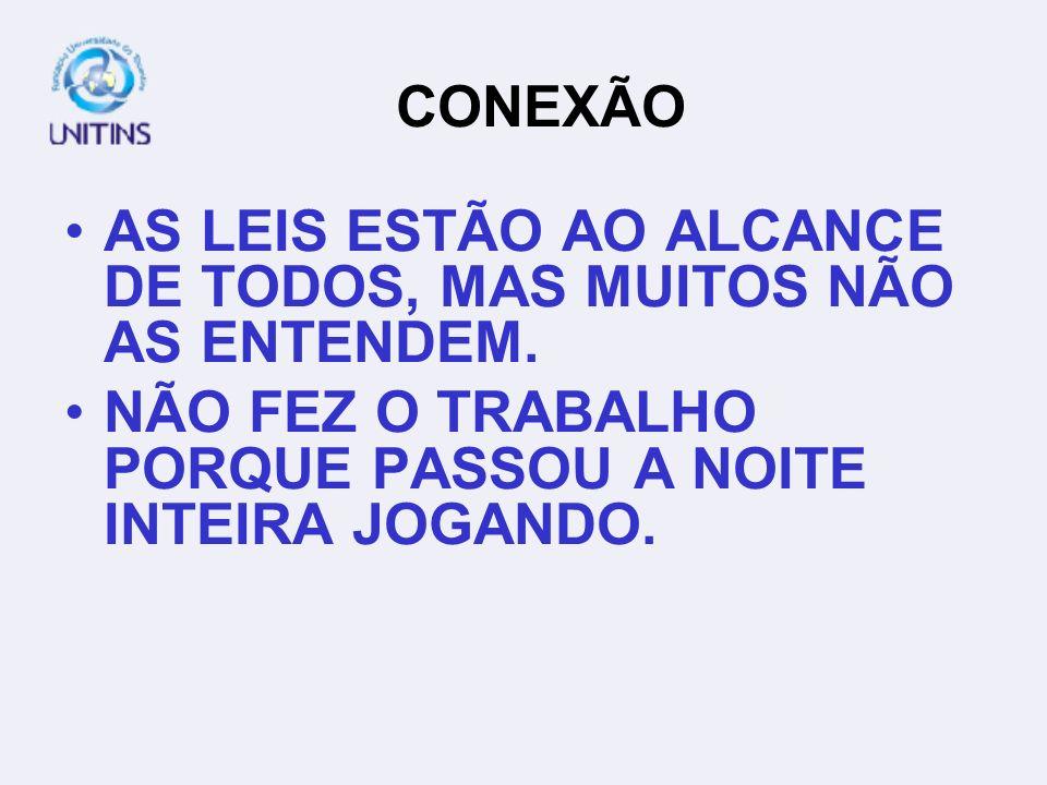 CONEXÃO AS LEIS ESTÃO AO ALCANCE DE TODOS, MAS MUITOS NÃO AS ENTENDEM.