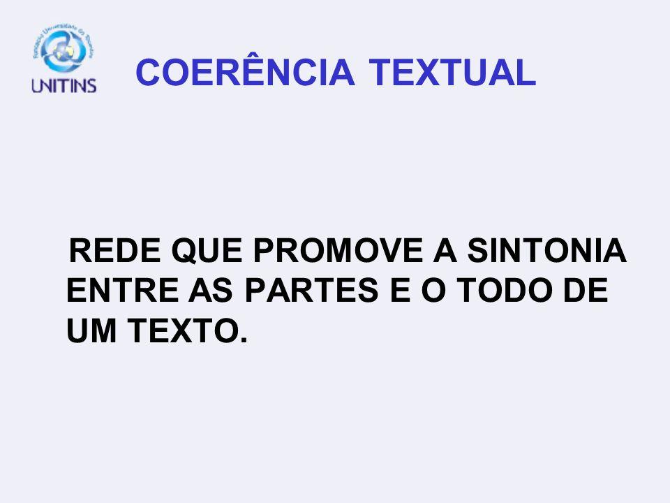 COERÊNCIA TEXTUAL REDE QUE PROMOVE A SINTONIA ENTRE AS PARTES E O TODO DE UM TEXTO.