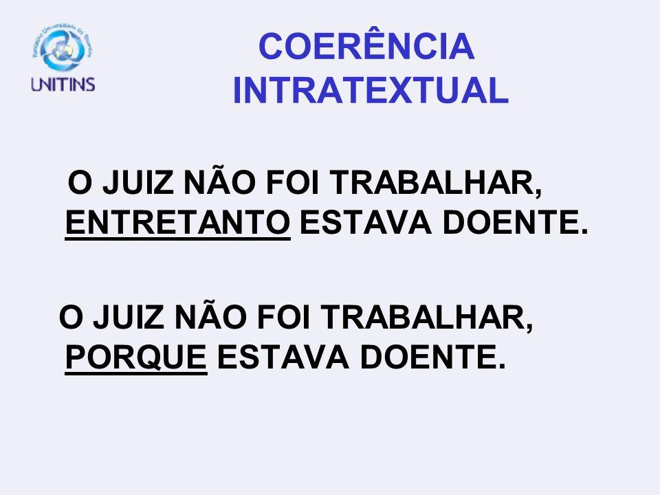COERÊNCIA INTRATEXTUAL