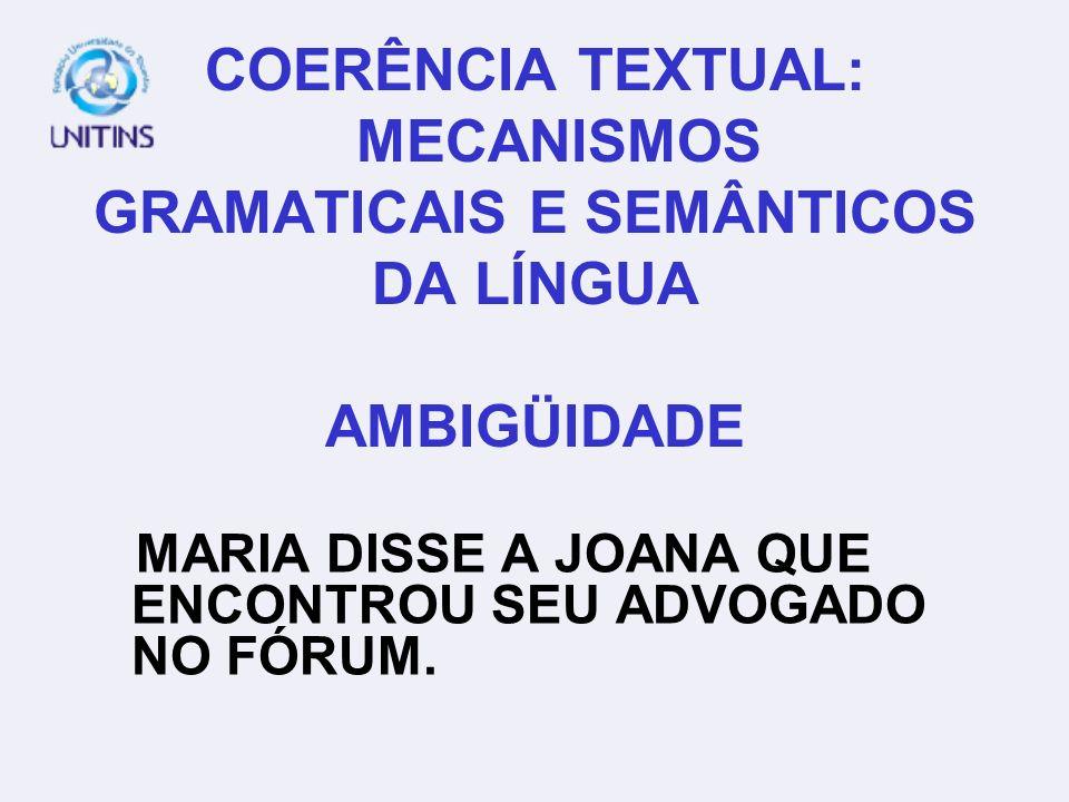 COERÊNCIA TEXTUAL: MECANISMOS GRAMATICAIS E SEMÂNTICOS DA LÍNGUA AMBIGÜIDADE