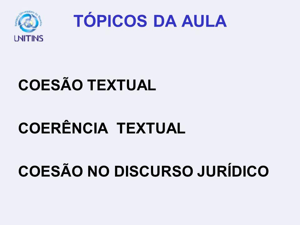 TÓPICOS DA AULA COESÃO TEXTUAL COERÊNCIA TEXTUAL