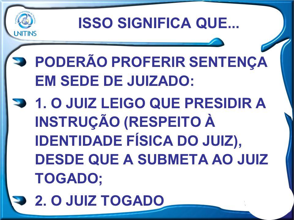 ISSO SIGNIFICA QUE... PODERÃO PROFERIR SENTENÇA EM SEDE DE JUIZADO: