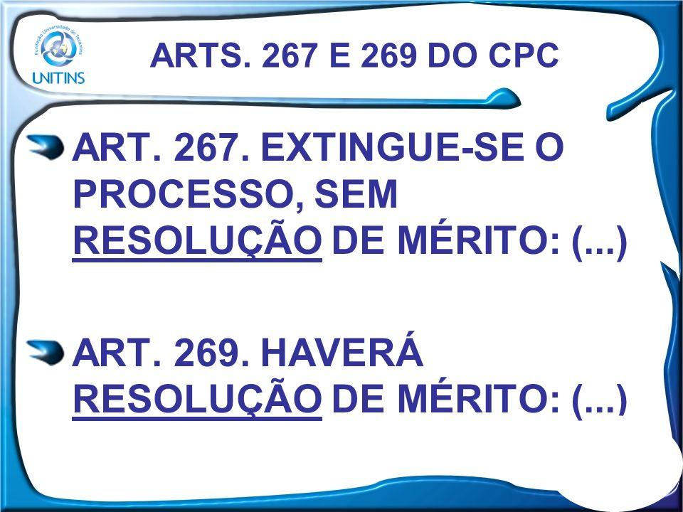 ART. 267. EXTINGUE-SE O PROCESSO, SEM RESOLUÇÃO DE MÉRITO: (...)