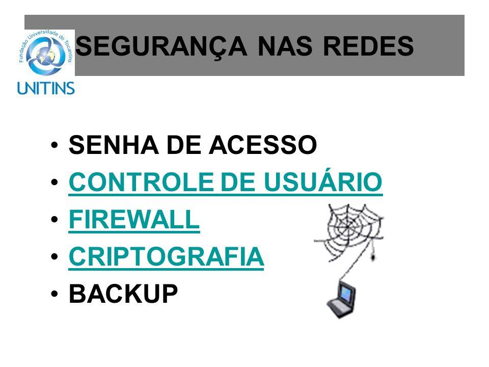 SEGURANÇA NAS REDES SENHA DE ACESSO CONTROLE DE USUÁRIO FIREWALL
