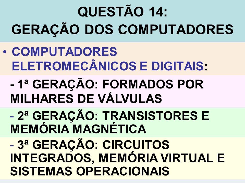 QUESTÃO 14: GERAÇÃO DOS COMPUTADORES