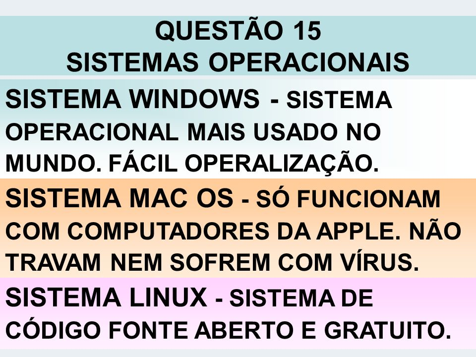 QUESTÃO 15 SISTEMAS OPERACIONAIS