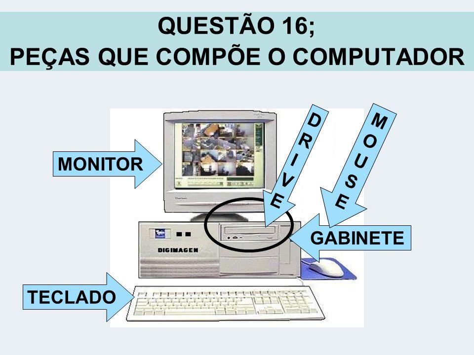 QUESTÃO 16; PEÇAS QUE COMPÕE O COMPUTADOR