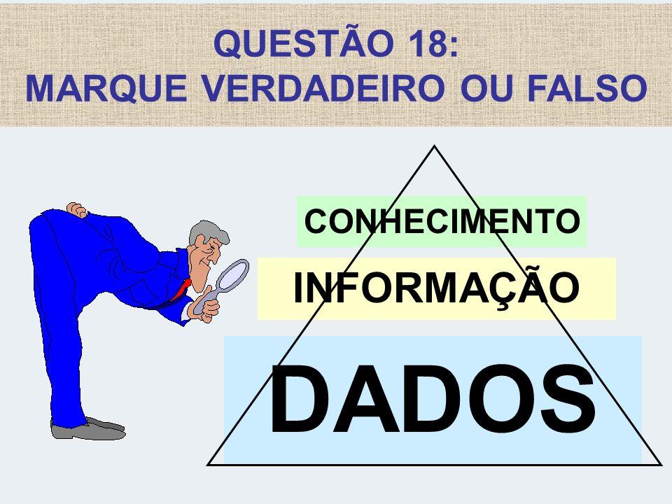 QUESTÃO 18: MARQUE VERDADEIRO OU FALSO