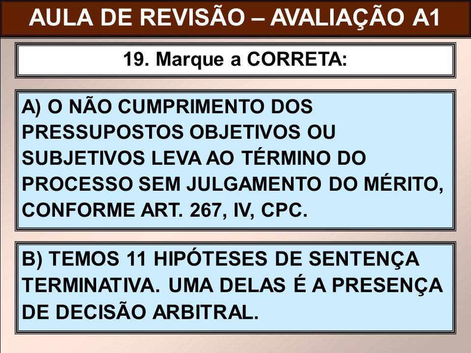 AULA DE REVISÃO – AVALIAÇÃO A1