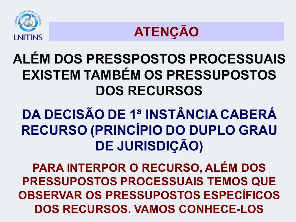 ATENÇÃO ALÉM DOS PRESSPOSTOS PROCESSUAIS EXISTEM TAMBÉM OS PRESSUPOSTOS DOS RECURSOS.