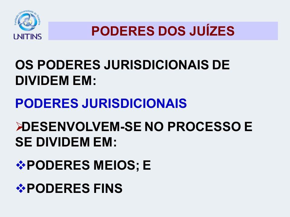 PODERES DOS JUÍZES OS PODERES JURISDICIONAIS DE DIVIDEM EM: PODERES JURISDICIONAIS. DESENVOLVEM-SE NO PROCESSO E SE DIVIDEM EM: