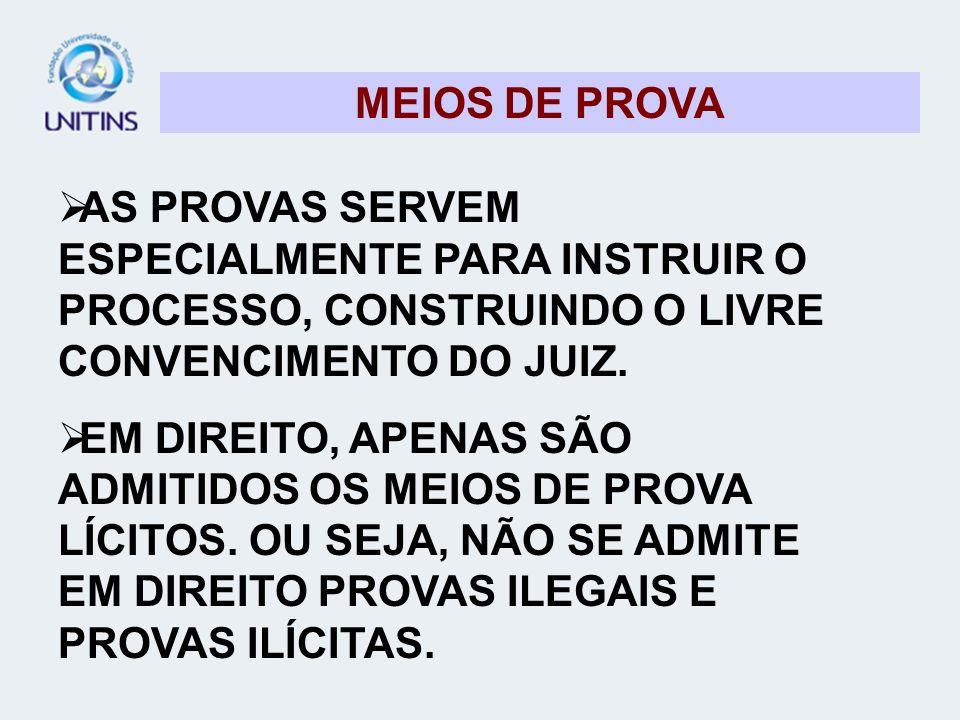 MEIOS DE PROVA AS PROVAS SERVEM ESPECIALMENTE PARA INSTRUIR O PROCESSO, CONSTRUINDO O LIVRE CONVENCIMENTO DO JUIZ.
