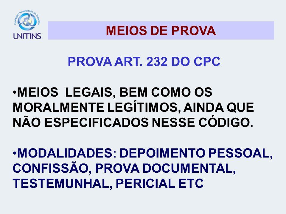 MEIOS DE PROVA PROVA ART. 232 DO CPC. MEIOS LEGAIS, BEM COMO OS MORALMENTE LEGÍTIMOS, AINDA QUE NÃO ESPECIFICADOS NESSE CÓDIGO.