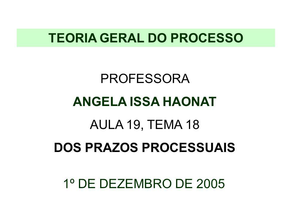 TEORIA GERAL DO PROCESSO DOS PRAZOS PROCESSUAIS