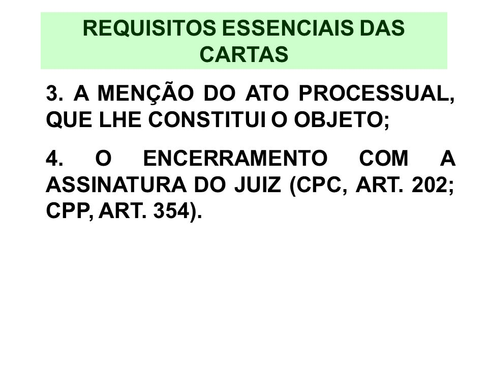 REQUISITOS ESSENCIAIS DAS CARTAS
