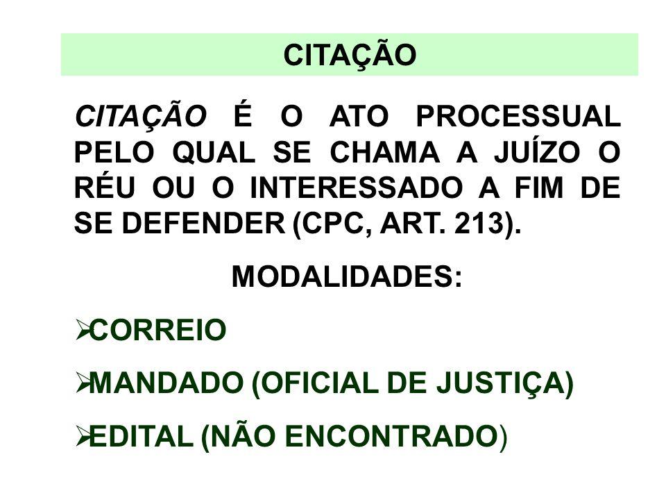CITAÇÃO CITAÇÃO É O ATO PROCESSUAL PELO QUAL SE CHAMA A JUÍZO O RÉU OU O INTERESSADO A FIM DE SE DEFENDER (CPC, ART. 213).