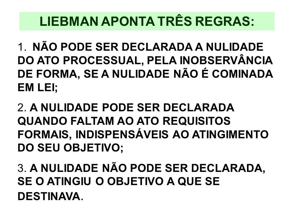 LIEBMAN APONTA TRÊS REGRAS: