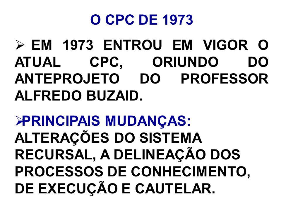 O CPC DE 1973 EM 1973 ENTROU EM VIGOR O ATUAL CPC, ORIUNDO DO ANTEPROJETO DO PROFESSOR ALFREDO BUZAID.