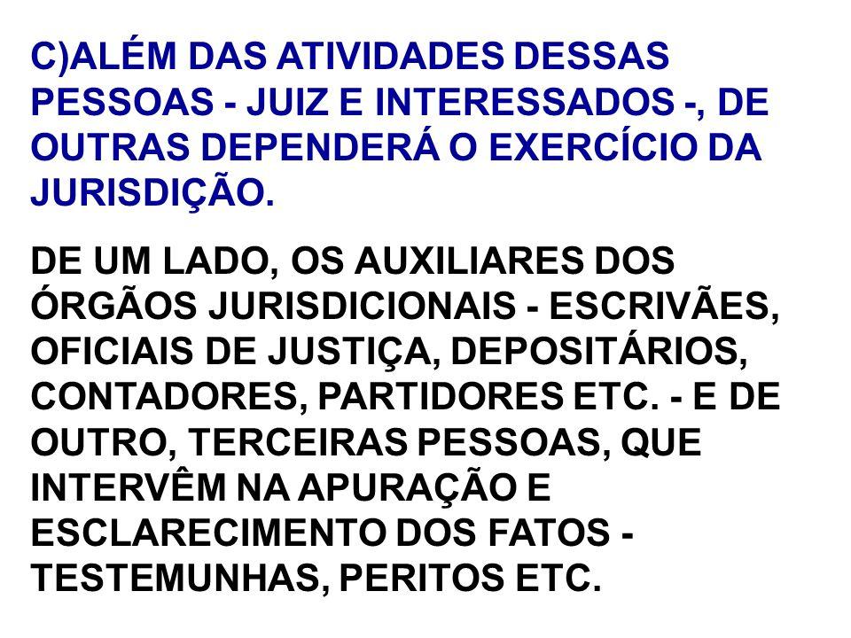 C)ALÉM DAS ATIVIDADES DESSAS PESSOAS - JUIZ E INTERESSADOS -, DE OUTRAS DEPENDERÁ O EXERCÍCIO DA JURISDIÇÃO.