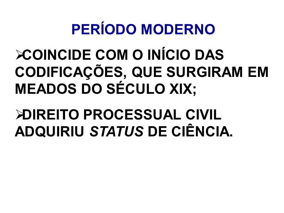 PERÍODO MODERNO COINCIDE COM O INÍCIO DAS CODIFICAÇÕES, QUE SURGIRAM EM MEADOS DO SÉCULO XIX; DIREITO PROCESSUAL CIVIL ADQUIRIU STATUS DE CIÊNCIA.
