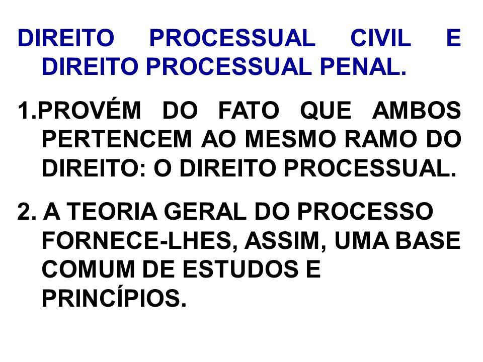 DIREITO PROCESSUAL CIVIL E DIREITO PROCESSUAL PENAL.