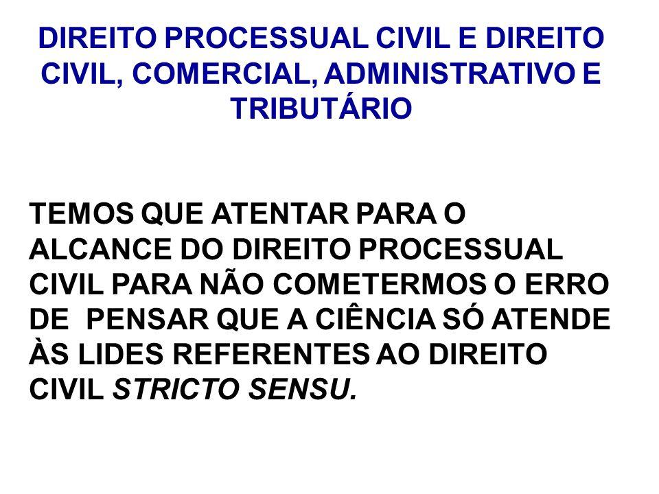 DIREITO PROCESSUAL CIVIL E DIREITO CIVIL, COMERCIAL, ADMINISTRATIVO E TRIBUTÁRIO