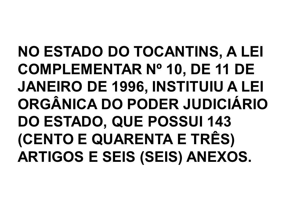 NO ESTADO DO TOCANTINS, A LEI COMPLEMENTAR Nº 10, DE 11 DE JANEIRO DE 1996, INSTITUIU A LEI ORGÂNICA DO PODER JUDICIÁRIO DO ESTADO, QUE POSSUI 143 (CENTO E QUARENTA E TRÊS) ARTIGOS E SEIS (SEIS) ANEXOS.