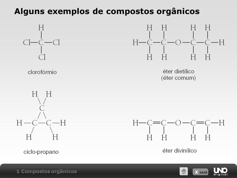 Alguns exemplos de compostos orgânicos