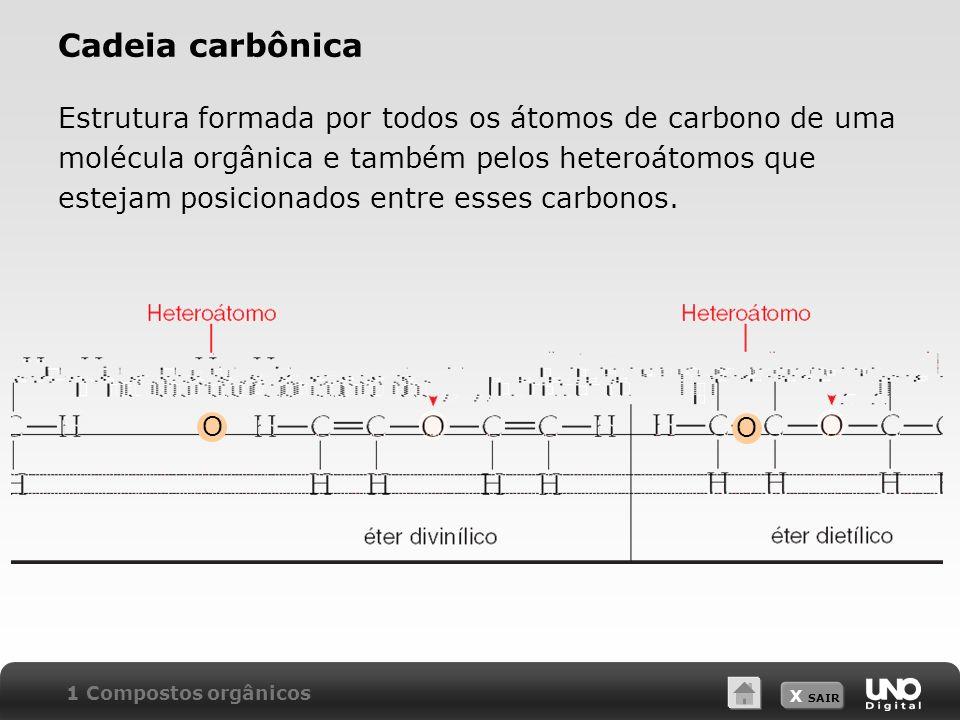Cadeia carbônica Estrutura formada por todos os átomos de carbono de uma. molécula orgânica e também pelos heteroátomos que.