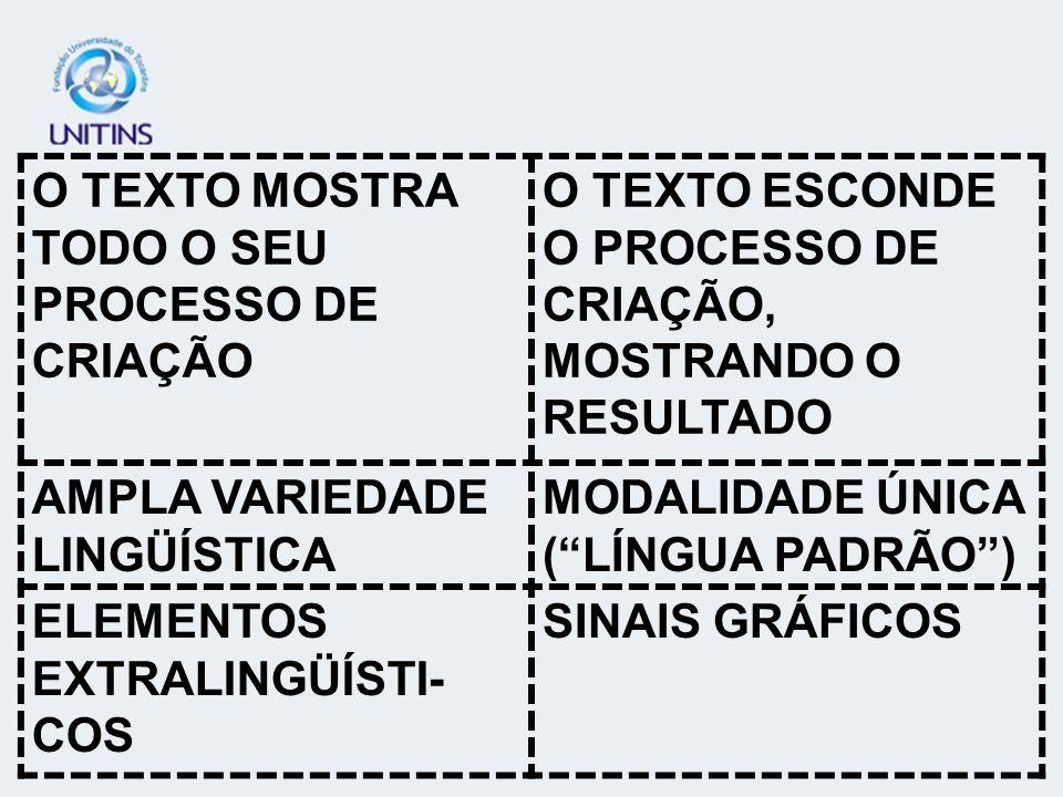 O TEXTO MOSTRA TODO O SEU PROCESSO DE CRIAÇÃO