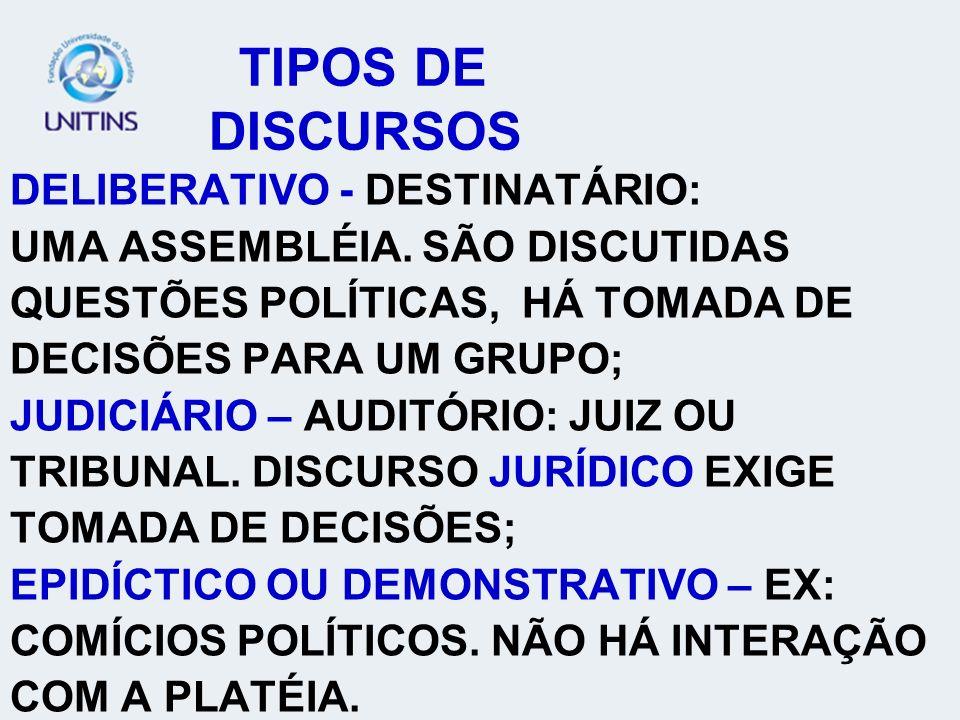 TIPOS DE DISCURSOS DELIBERATIVO - DESTINATÁRIO: