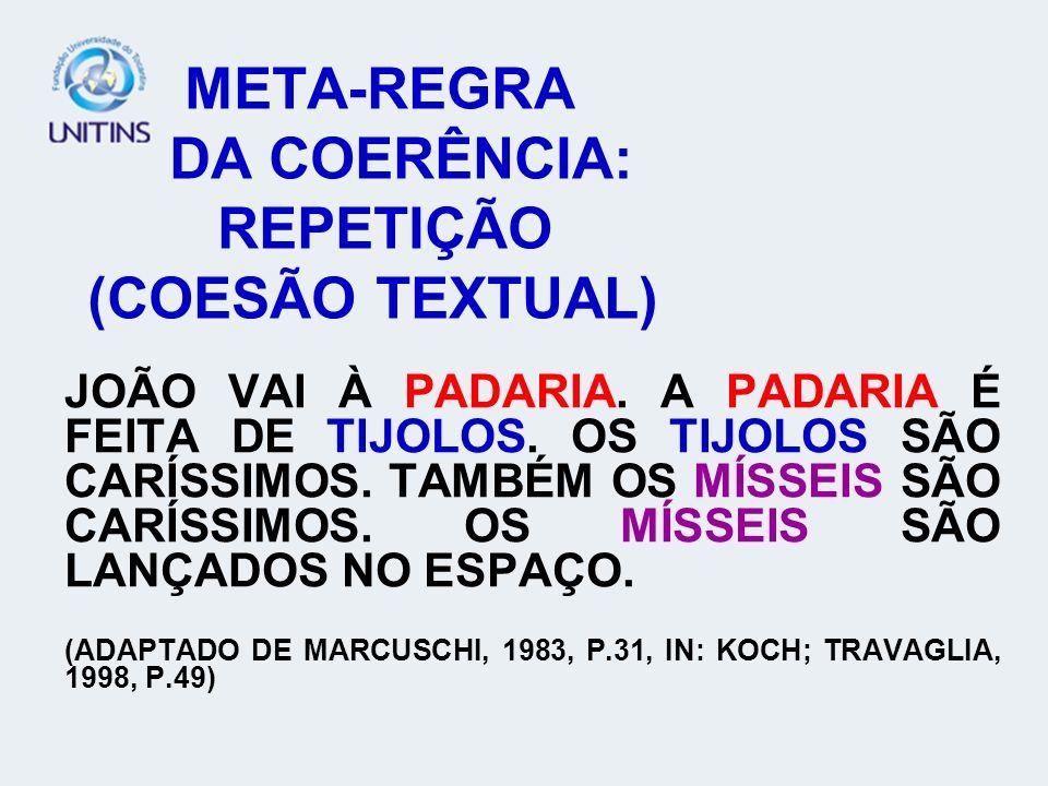 META-REGRA DA COERÊNCIA: REPETIÇÃO (COESÃO TEXTUAL)