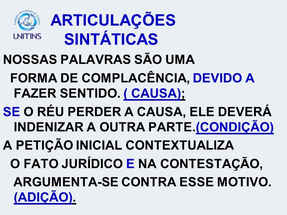 ARTICULAÇÕES SINTÁTICAS