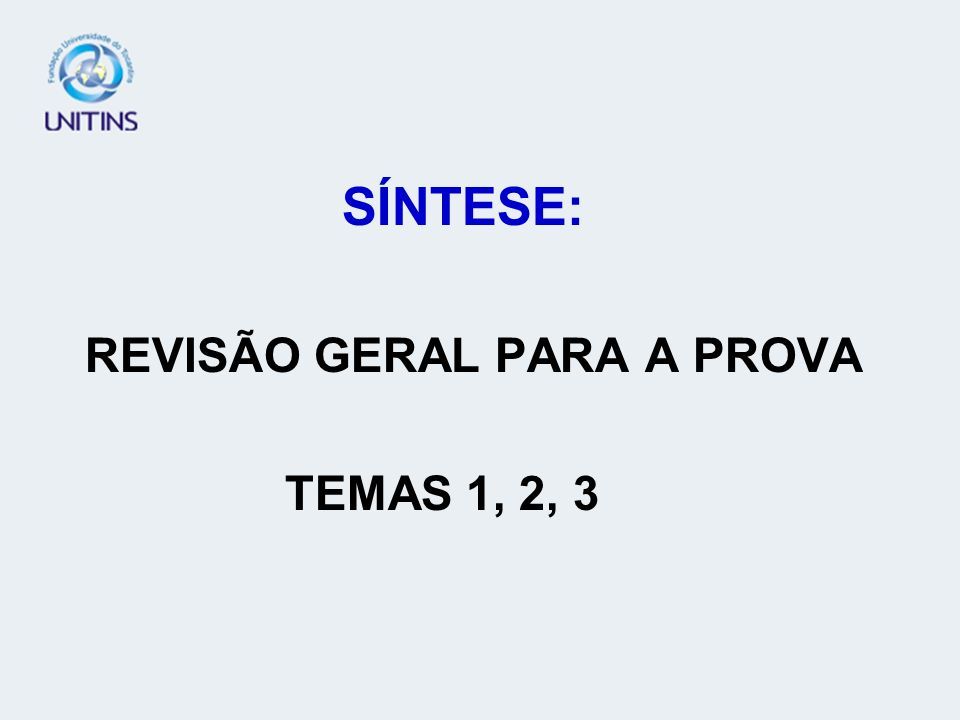 REVISÃO GERAL PARA A PROVA TEMAS 1, 2, 3