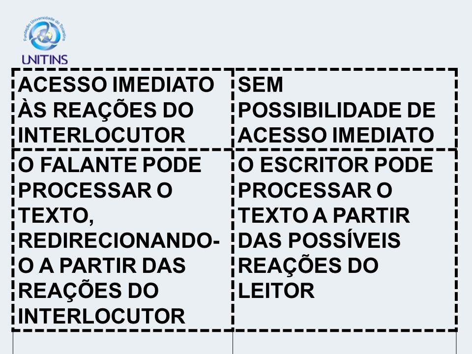 ACESSO IMEDIATO ÀS REAÇÕES DO INTERLOCUTOR