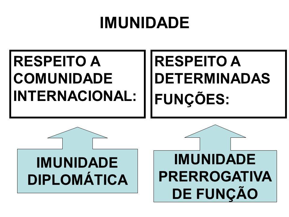 IMUNIDADE RESPEITO A COMUNIDADE INTERNACIONAL: RESPEITO A DETERMINADAS