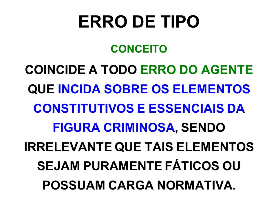 ERRO DE TIPO CONCEITO.