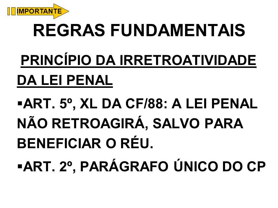 REGRAS FUNDAMENTAIS PRINCÍPIO DA IRRETROATIVIDADE DA LEI PENAL