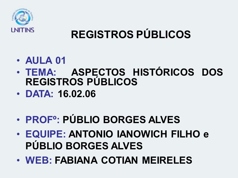 REGISTROS PÚBLICOS AULA 01