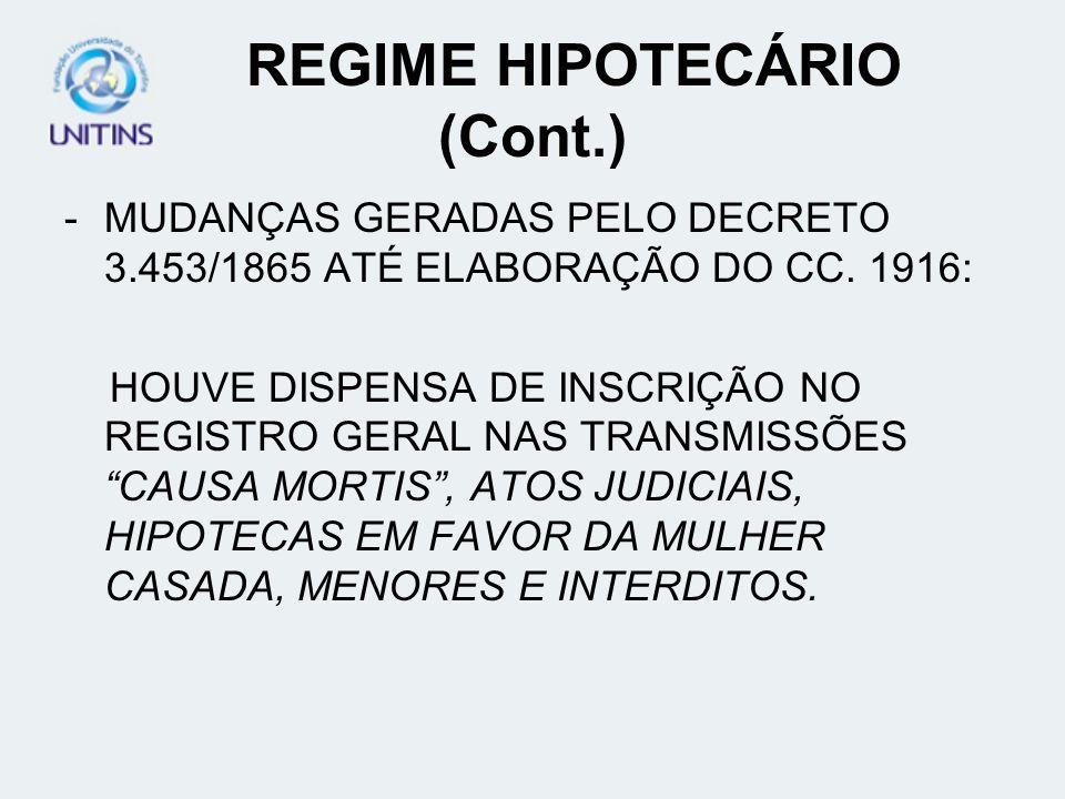 REGIME HIPOTECÁRIO (Cont.)