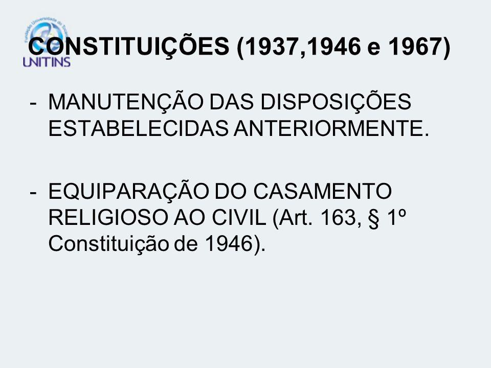 CONSTITUIÇÕES (1937,1946 e 1967)MANUTENÇÃO DAS DISPOSIÇÕES ESTABELECIDAS ANTERIORMENTE.