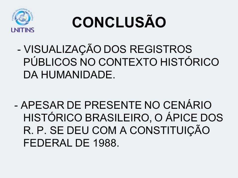 CONCLUSÃO - VISUALIZAÇÃO DOS REGISTROS PÚBLICOS NO CONTEXTO HISTÓRICO DA HUMANIDADE.