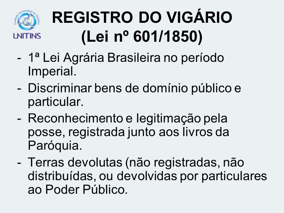 REGISTRO DO VIGÁRIO (Lei nº 601/1850)