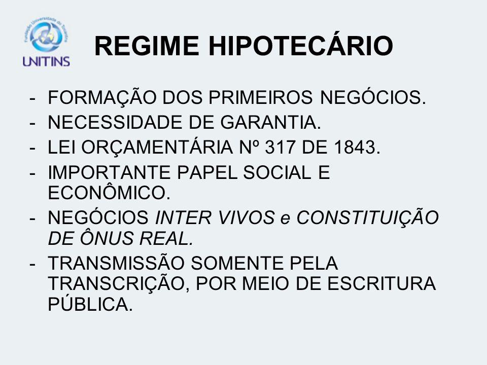 REGIME HIPOTECÁRIO FORMAÇÃO DOS PRIMEIROS NEGÓCIOS.