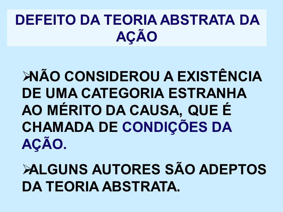 DEFEITO DA TEORIA ABSTRATA DA AÇÃO