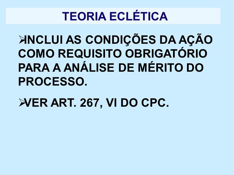 TEORIA ECLÉTICA INCLUI AS CONDIÇÕES DA AÇÃO COMO REQUISITO OBRIGATÓRIO PARA A ANÁLISE DE MÉRITO DO PROCESSO.