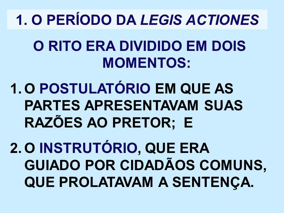 1. O PERÍODO DA LEGIS ACTIONES O RITO ERA DIVIDIDO EM DOIS MOMENTOS: